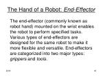 the hand of a robot end effector