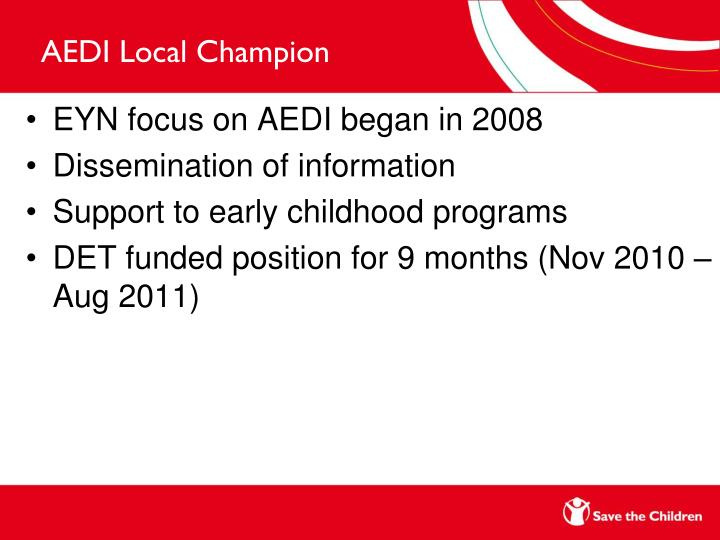 AEDI Local Champion