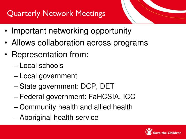 Quarterly Network Meetings