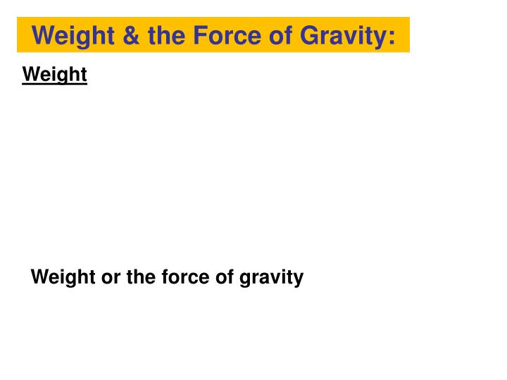 Weight & the Force of Gravity: