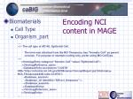 encoding nci content in mage