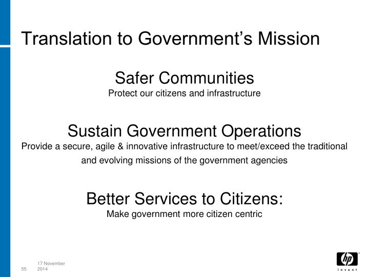 Translation to Government's Mission