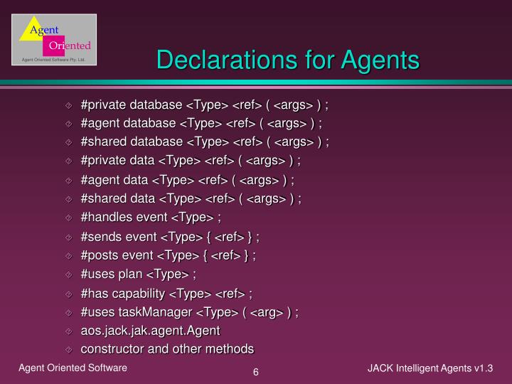 Declarations for Agents