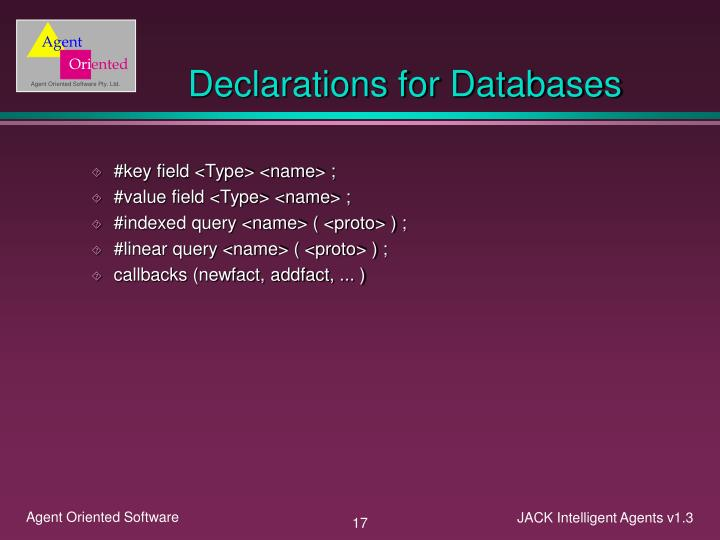 Declarations for Databases