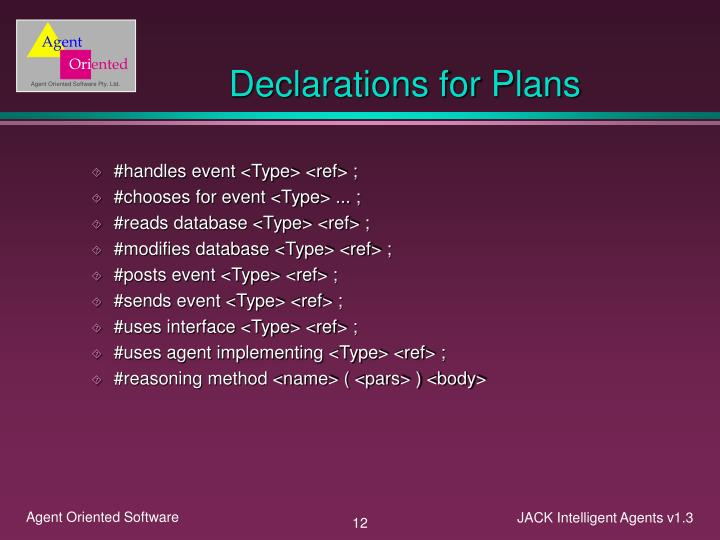Declarations for Plans
