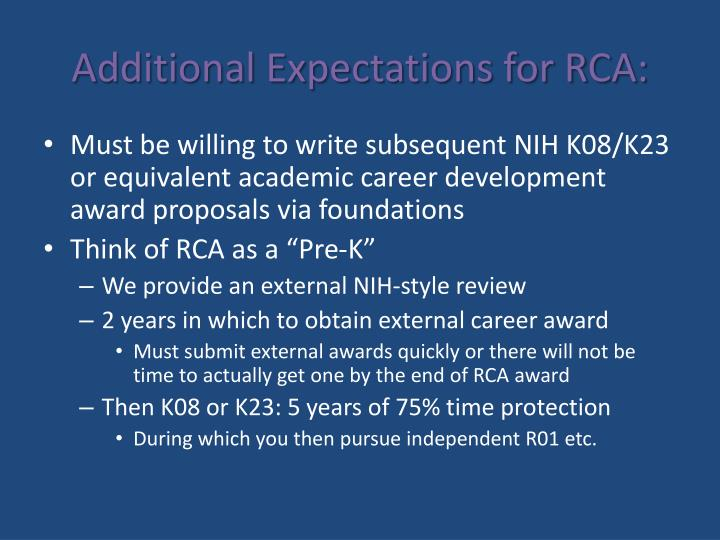 Additional Expectations for RCA: