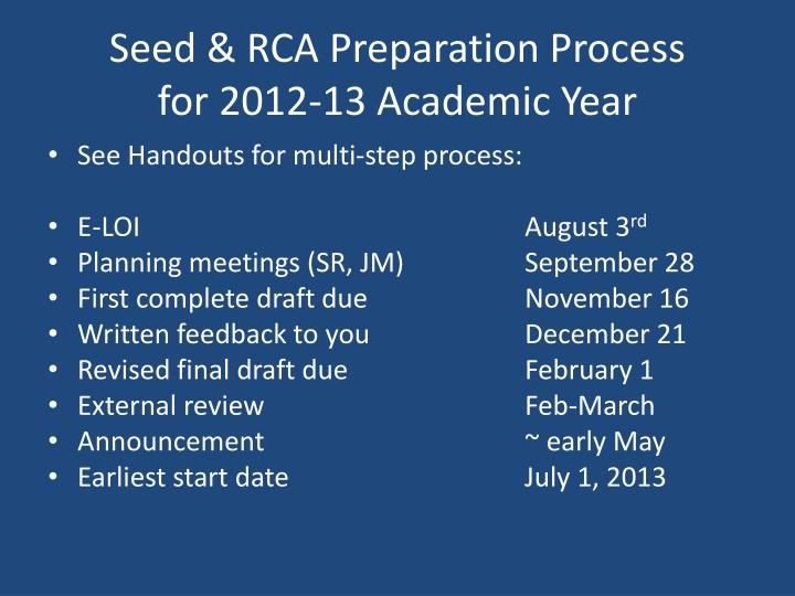 Seed & RCA Preparation Process