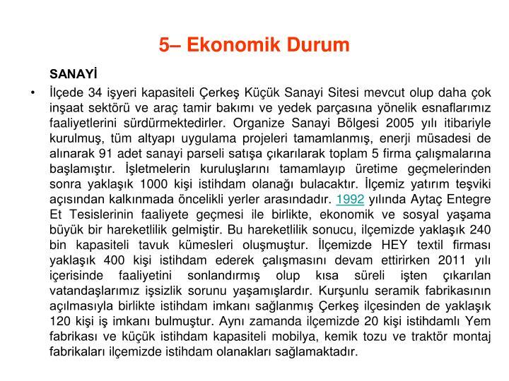 5– Ekonomik Durum