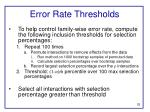 error rate thresholds