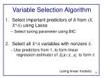 variable selection algorithm