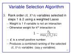 variable selection algorithm1