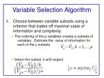 variable selection algorithm2