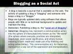 blogging as a social act