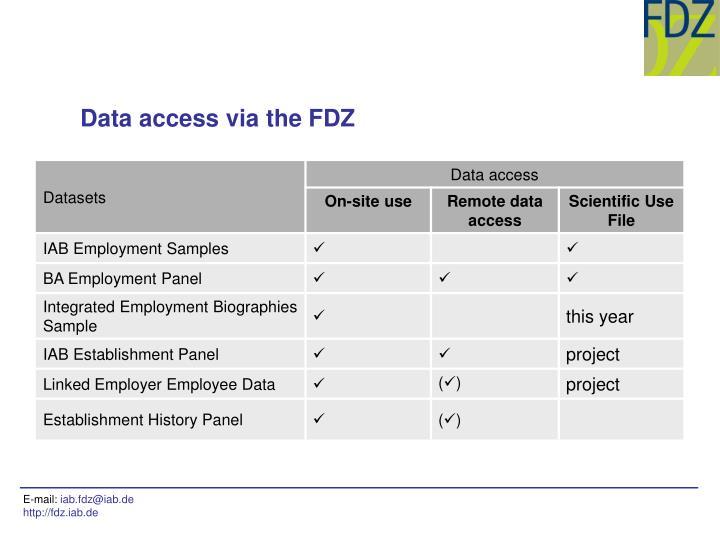 Data access via the FDZ