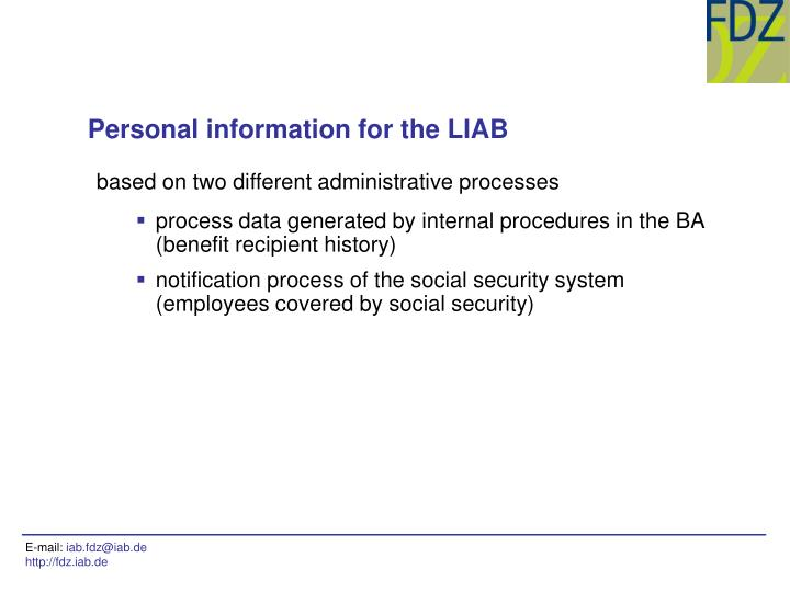Personal information for the LIAB