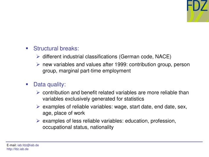 Structural breaks: