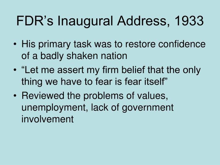 FDR's Inaugural Address, 1933