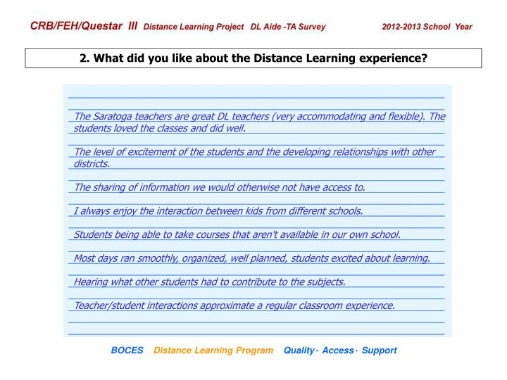 2. What did you like about the Distance Learning experience?