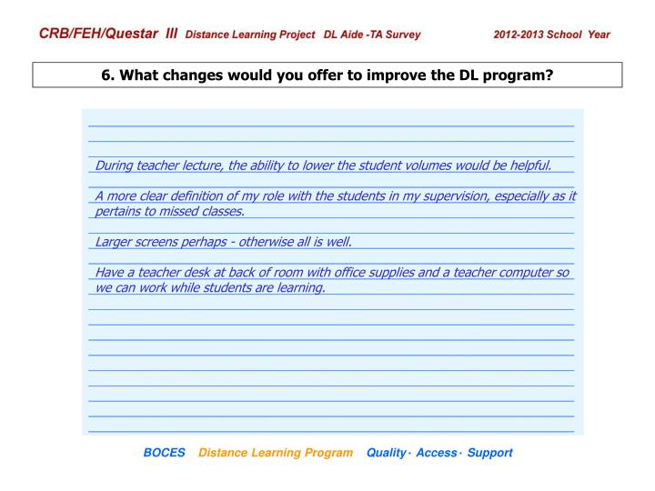 6. What changes would you offer to improve the DL program?