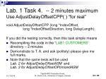 lab 1 task 4 2 minutes maximum use adjustdelayoffsetcpp for real