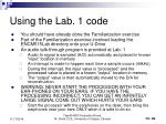 using the lab 1 code