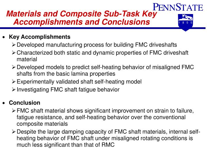 Materials and Composite Sub-Task Key Accomplishments and Conclusions