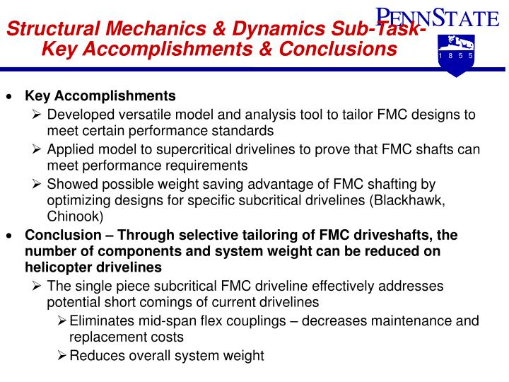 Structural Mechanics & Dynamics Sub-Task-