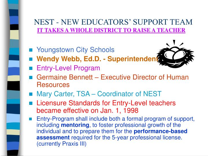 Nest new educators support team it takes a whole district to raise a teacher