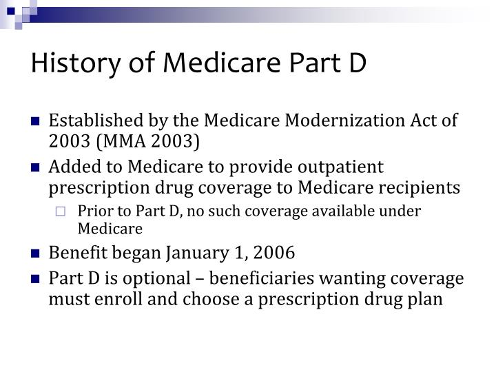 History of Medicare Part D