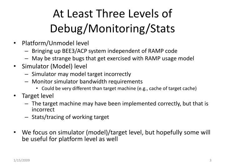 At least three levels of debug monitoring stats