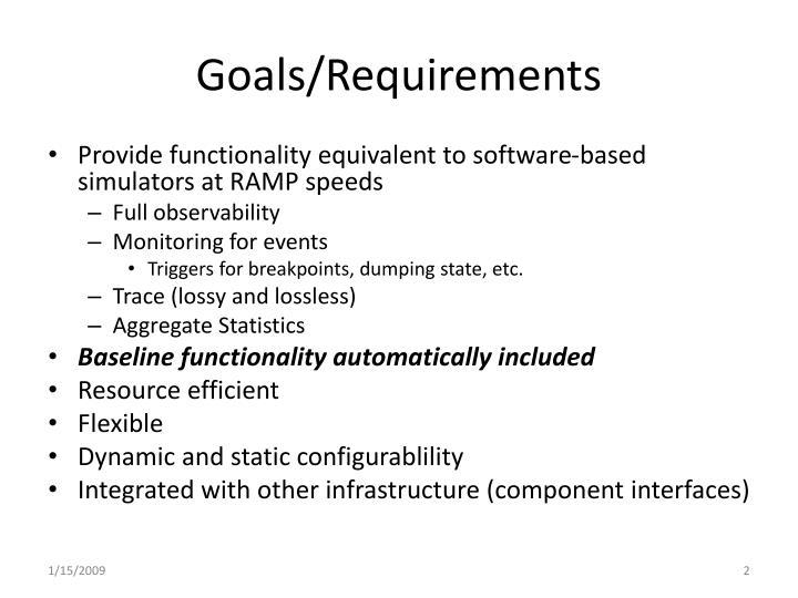 Goals requirements