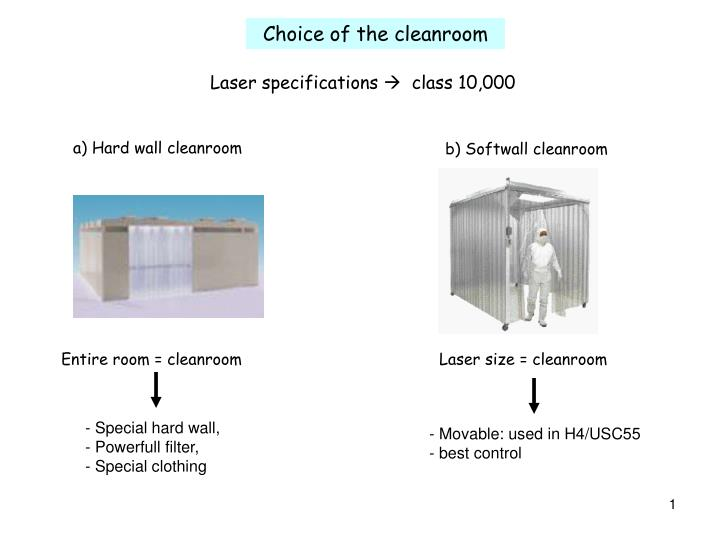 Choice of the cleanroom