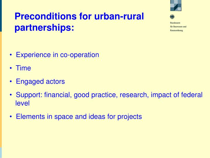 Preconditions for urban-rural
