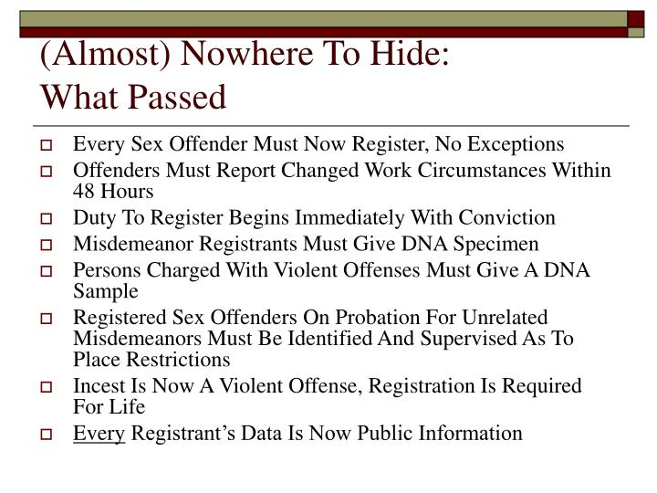(Almost) Nowhere To Hide: