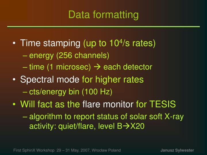 Data formatting