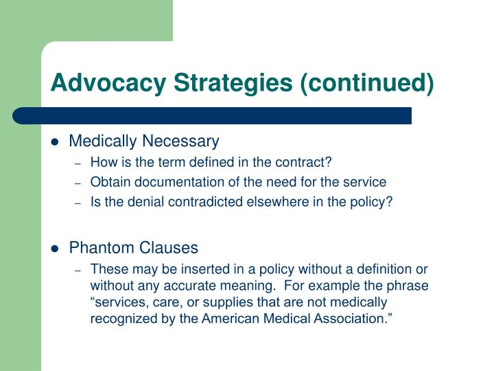 Advocacy Strategies (continued)