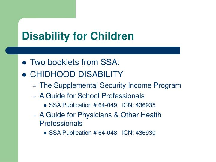 Disability for Children