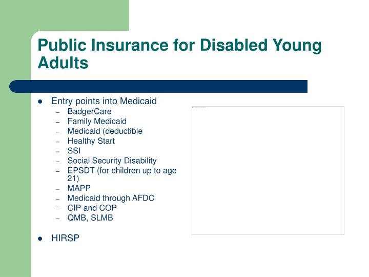 Public Insurance for Disabled Young Adults