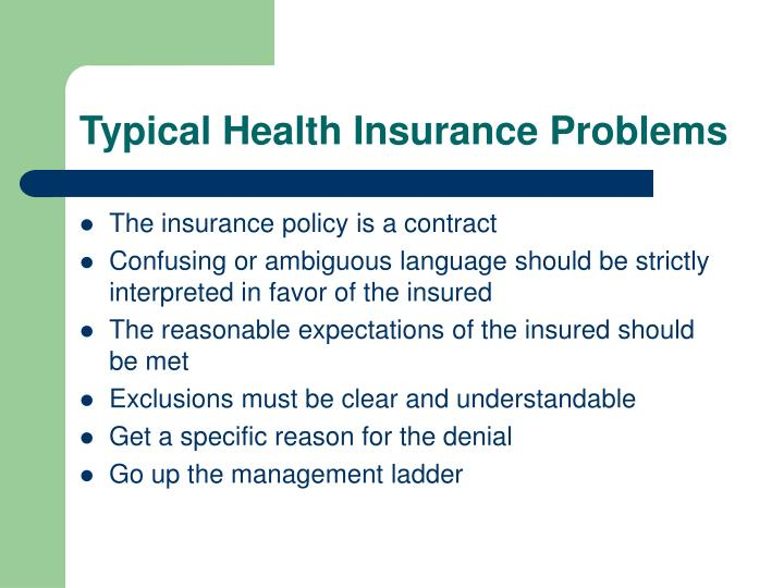 Typical Health Insurance Problems