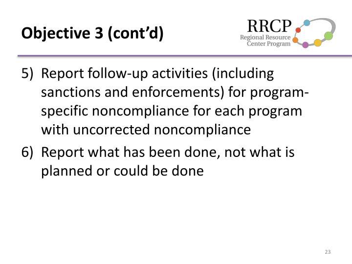 Objective 3 (cont'd)