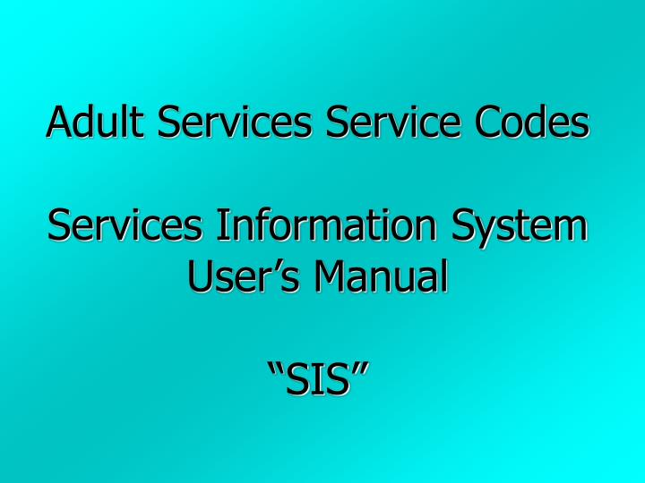 Adult Services Service Codes
