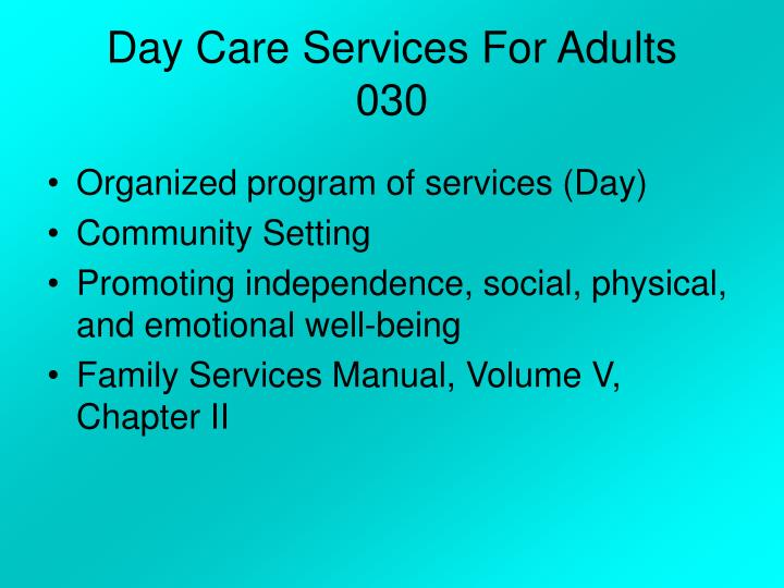 Day Care Services For Adults
