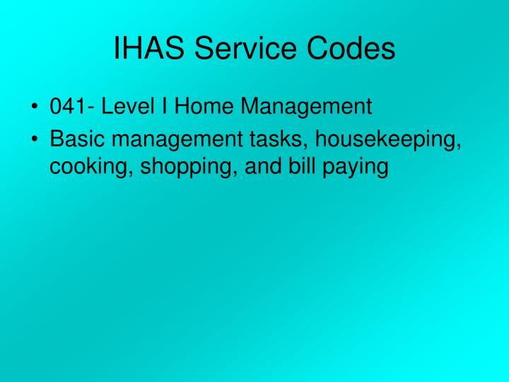 IHAS Service Codes