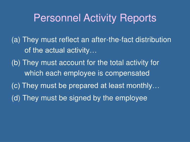 Personnel Activity Reports