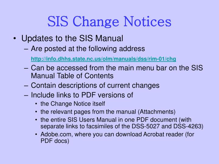 SIS Change Notices