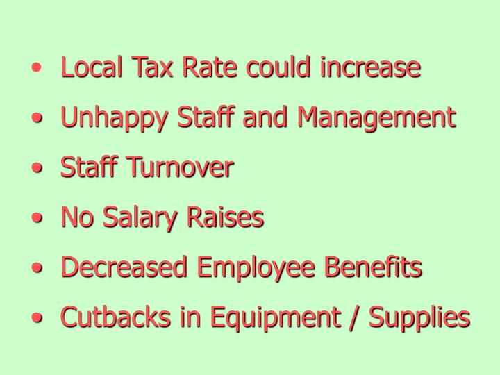 Local Tax Rate could increase