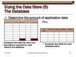 sizing the data store 5 the database