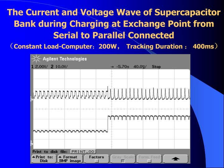 The Current and Voltage Wave of Supercapacitor Bank during Charging at Exchange Point from Serial to Parallel Connected