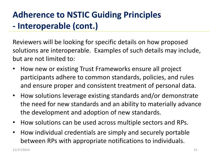 Adherence to NSTIC Guiding Principles