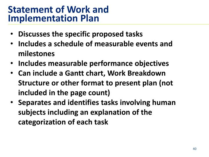 Statement of Work and